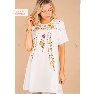 Ivory White Embroidered Dress NWT